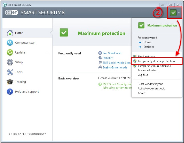 how to temporarily disable eset antivirus