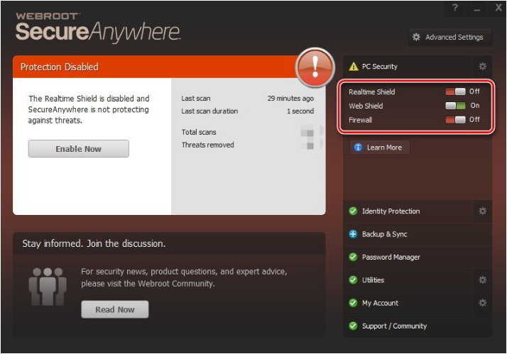 how to temporarily disable webroot antivirus software