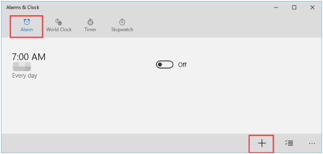 Add an Alarm Time in windows 10