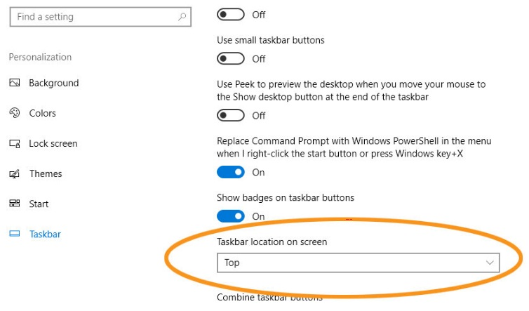 how to move the windows taskbar to the bottom