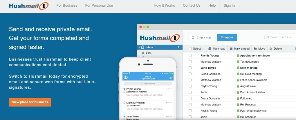 hushmail Email providers